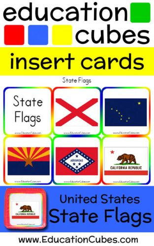 Education Cubes US State Flags insert cards