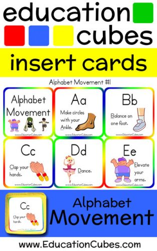 Education Cubes Alphabet Movement insert cards