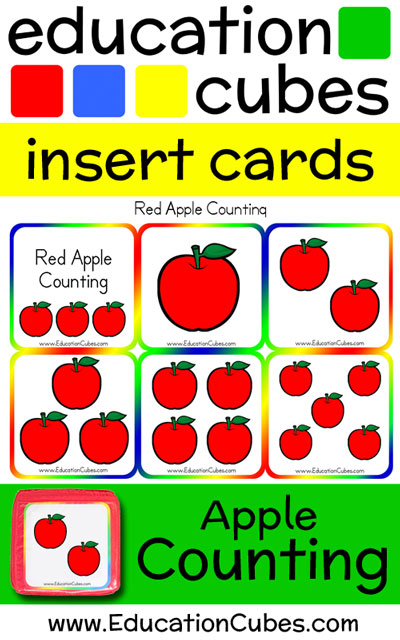 Apple Counting Education Cubes insert cards