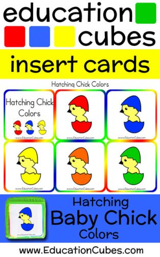 Education Cubes Baby Chick Colors insert cards