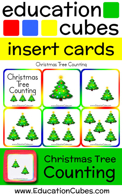 Education Cubes Christmas Tree Counting insert cards