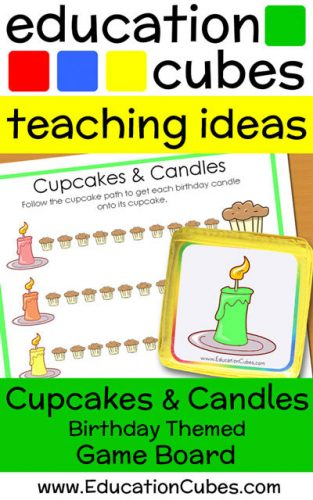 Cupcakes and Candles Birthday Themed Education Cubes Game