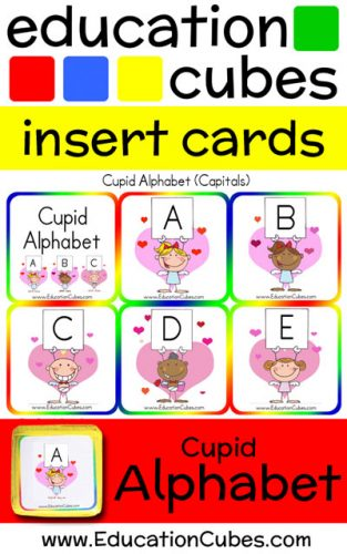 Cupid Alphabet Education Cubes insert cards
