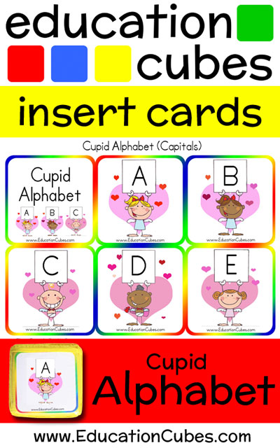 Cupid Alphabet Education Cubes insert cards