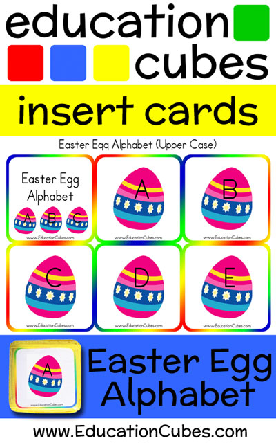 Education Cubes Easter Egg Alphabet insert cards