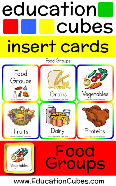 Food Groups Education Cubes insert cards