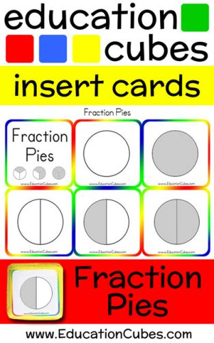 Fraction Pies Education Cubes insert cards