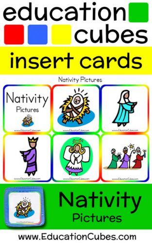 Education Cubes Nativity Pictures insert cards