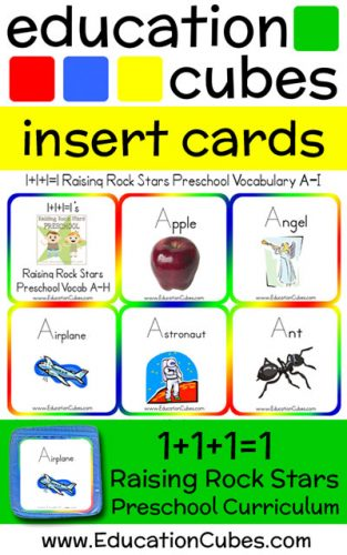 RRSP Vocabulary Education Cubes insert cards