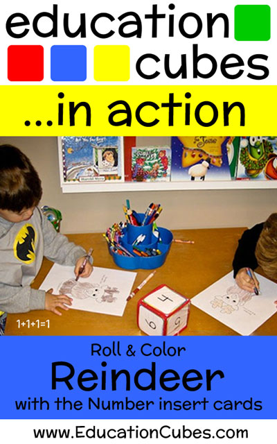 Education Cubes Roll and Color Reindeer Activity