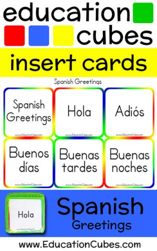 Spanish Greetings Education Cubes insert cards