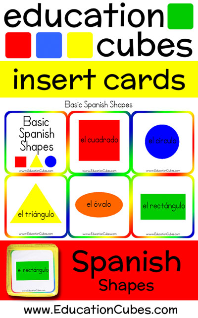 Spanish Shapes Education Cubes insert cards