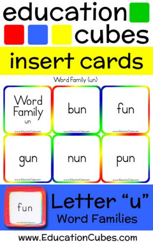 Education Cubes Word Families Letter U insert cards