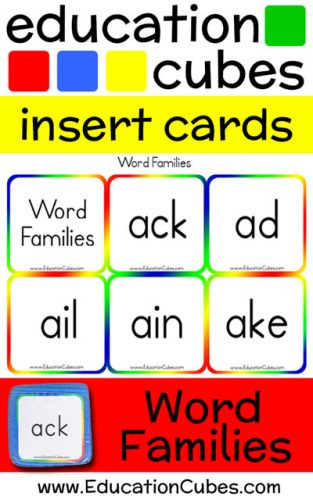 Education Cubes Word Family insert cards