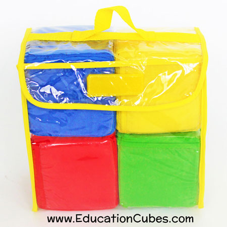 Education Cubes photo blocks in clear carrying case