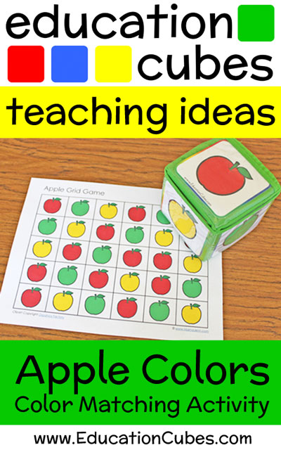 apple color matching grid game with text overlay Education Cubes teaching ideas