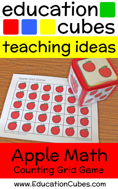 apple counting grid game with text overlay Education Cubes teaching ideas