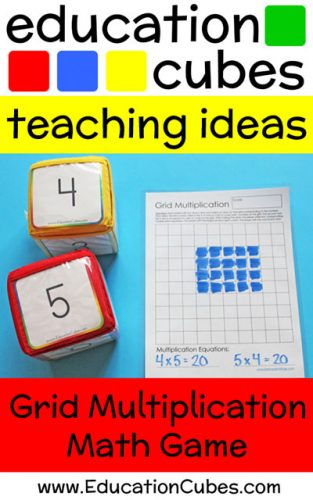 grid multiplication math game with text overlay Education Cubes teaching ideas